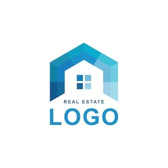 不動産ロゴ。幾何学的な青色