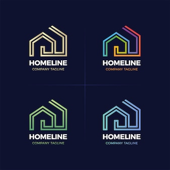 Real estate logo home or house line logotype.