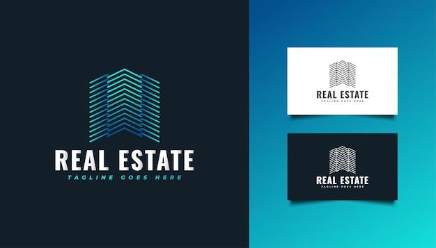 シンプルでミニマリストのコンセプトのラインスタイルの不動産ロゴ。建設、建築、建物、または家のロゴ