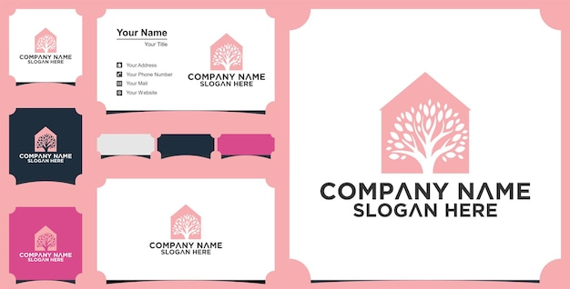 Real estate logo inspiration with nature concept and business card