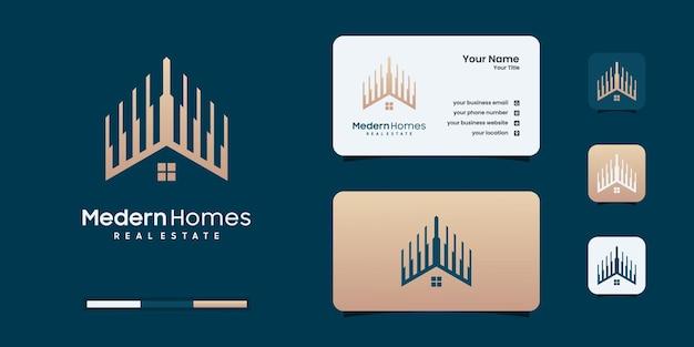 Логотип недвижимости, современный домашний логотип, собственность, логотип дома, дом и здание