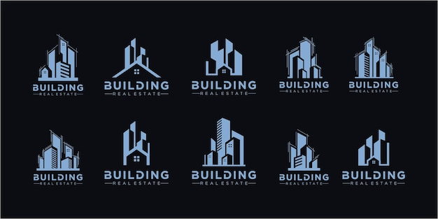 Набор логотипов недвижимости / коллекция логотипов creative house / набор логотипов абстрактных зданий. набор векторных иконок здания. коллекция иллюстрации логотип города строительства и недвижимости.