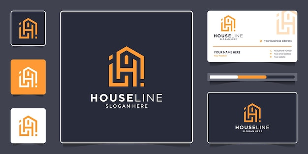 Real estate logo template with business card. combine house and letter h line logo design minimalist.