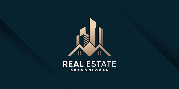 Real estate logo template with golden creative style premium vector part 1