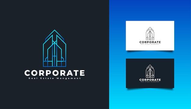 青いグラデーションで抽象的なミニマリストの概念を持つ不動産のロゴ。建設、建築、建物、または家のロゴ