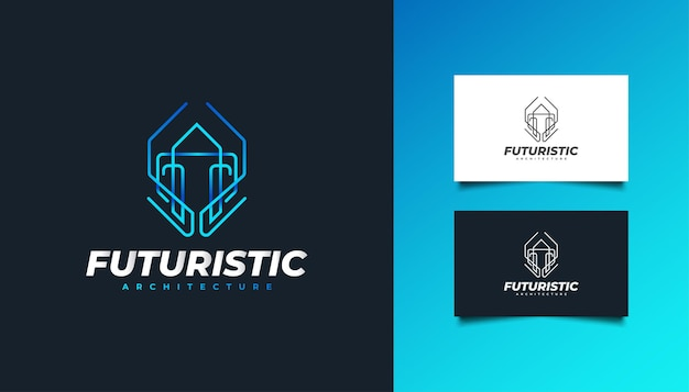 Real estate logo with futuristic concept in blue gradient. construction, architecture, building, or house logo