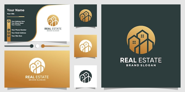 Логотип недвижимости с золотой абстрактной линией в стиле арт premium векторы