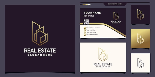 Real estate logo with  golden line art style and business card design premium vector