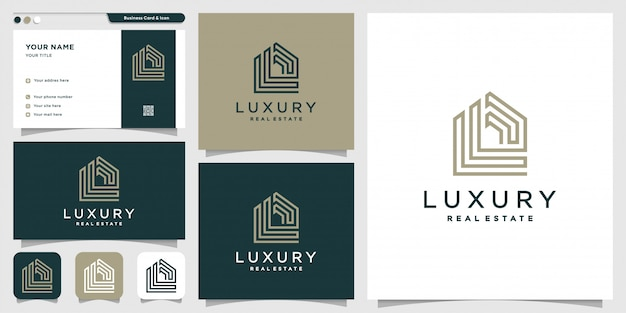 Real estate logo with line art style and business card design template, building, construction, estate, new concept, monogram