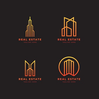 線画スタイルの不動産ロゴ。エレガントでモダンな家の建物のロゴデザインベクトル