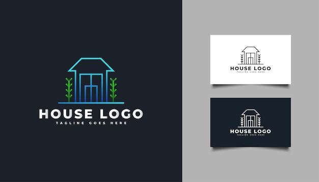 ブルーグラデーションのミニマリストコンセプトの不動産ロゴ。建設、建築、建物、または家のロゴ