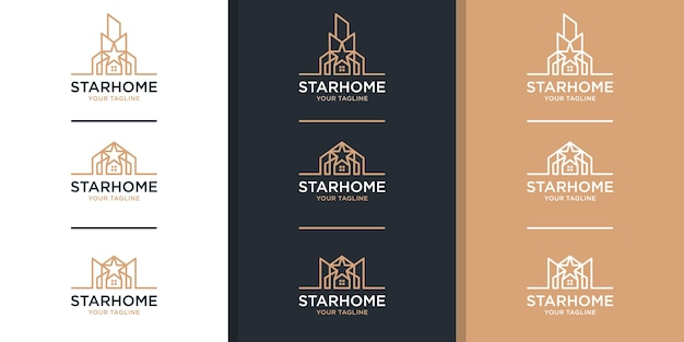 Real estate logo with star and line art style