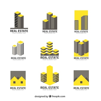 Real estate logos in grey and yellow