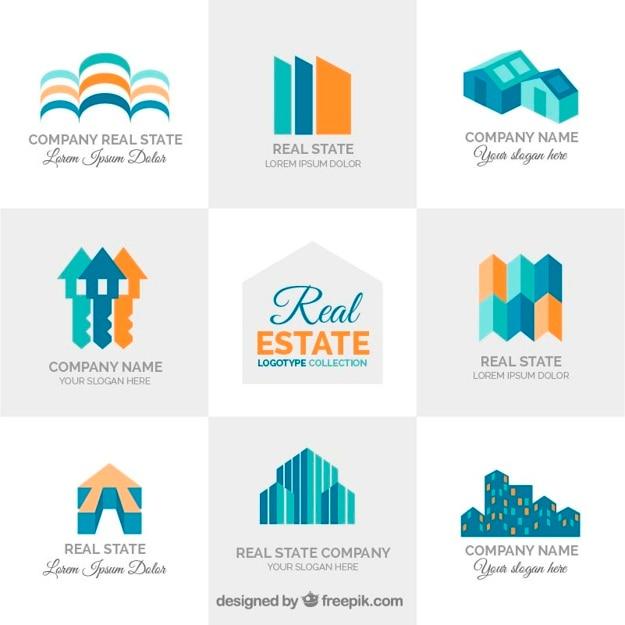 Real estate logotypes in flat design