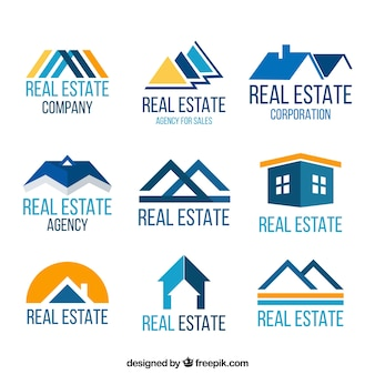 Real estate logotypes in blue and yellow