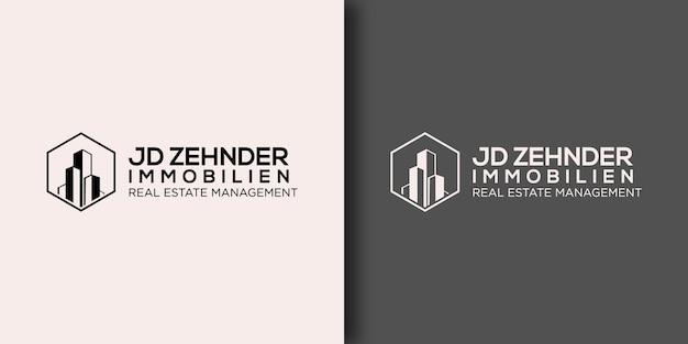 Шаблон логотипа управление недвижимостью с современной концепцией