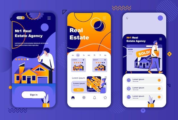 소셜 네트워크 스토리를위한 부동산 모바일 앱 화면 템플릿
