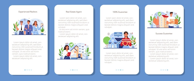 Real estate mobile application banner set. qualified and reliable real estate
