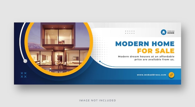 Недвижимость современная продажа дома в социальных сетях обложка веб-баннер