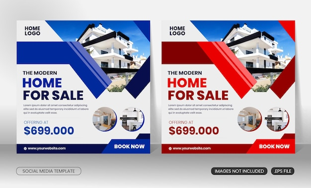 Real estate modern home for sale social media post square banner  flyer template