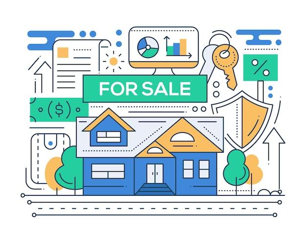 不動産-販売のための家とモダンなラインフラットデザイン都市構成