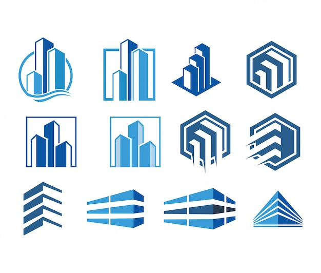 Real estate modern logo collection vector