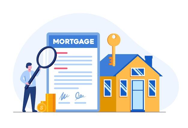 부동산 모기지 계약, 주택 개발자, 부동산 개념, 평면 그림 벡터