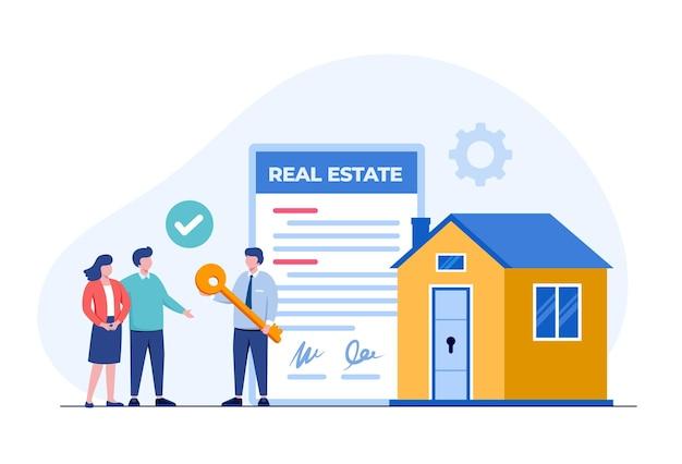 부동산 모기지, 주택 개발자 및 고객, 부동산 개념, 평면 그림 벡터