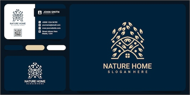 Вдохновение дизайна логотипа природы недвижимости. концепция дизайна логотипа дома природы. лист дома дизайн логотипа