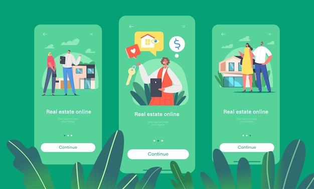 부동산 온라인 모바일 앱 페이지 온보드 화면 템플릿. 클라이언트 캐릭터는 모기지, 임대 또는 구매를 위해 집을 선택합니다.