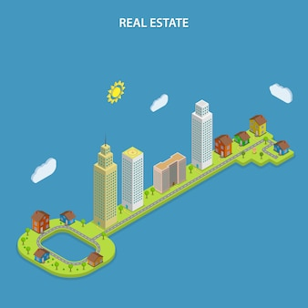 Real estate online searching isometric concept.