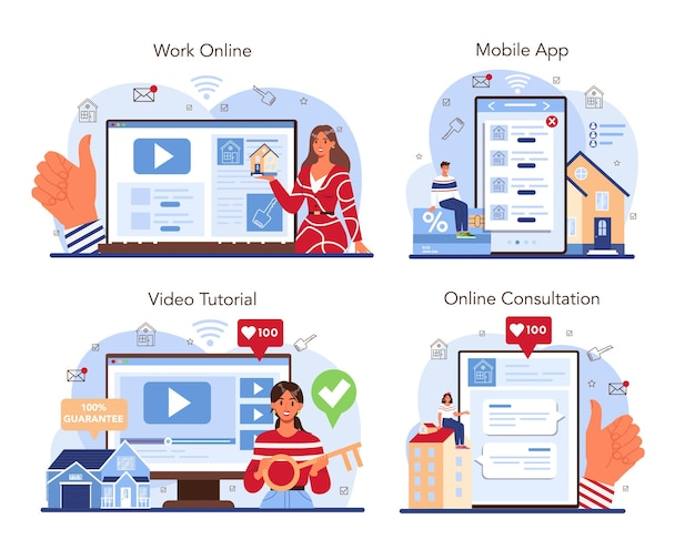 Real estate online service or platform set. qualified and reliable real estate agent guarantee a property buying. online work, consultation, mobile app, video tutorial. vector flat illustration