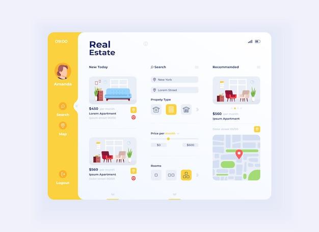 不動産オプションタブレットインターフェイスベクトルテンプレート。モバイルアプリページの日モードのデザインレイアウト。アパートの価格と場所の選択画面。アプリケーションのフラットui。ポータブルデバイスディスプレイ