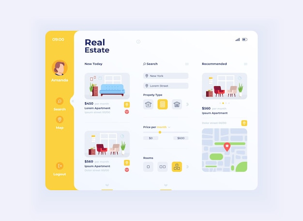 Real estate options tablet interface vector template. mobile app page day mode design layout. apartment prices and locations choice screen. flat ui for application. portable device display
