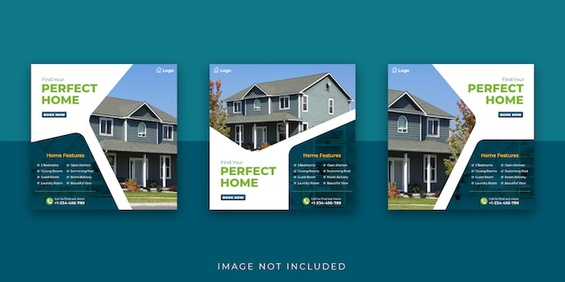 Шаблон сообщения в социальных сетях real estate perfect home