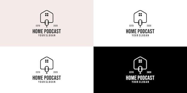 不動産ポッドキャストのロゴのテンプレート。ポッドキャストホームコミュニケーションロゴ