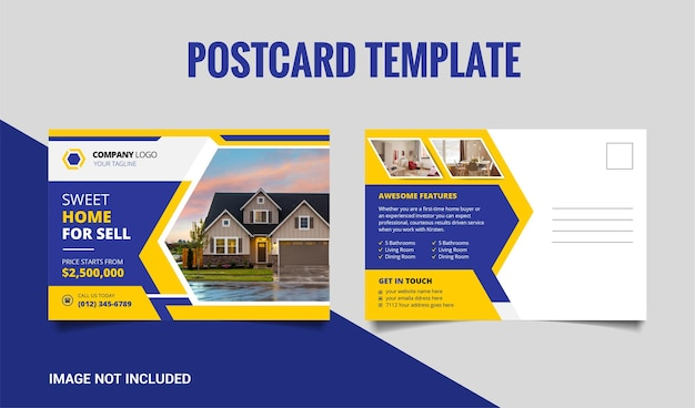 Дизайн шаблона открытки недвижимости с желтой и темно-синей формой премиум