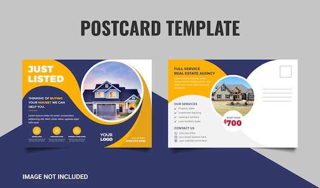 Real estate postcard template with dark blue and yellow color