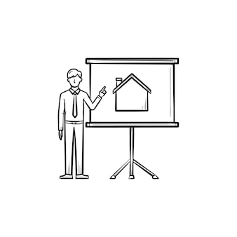 부동산 프레 젠 테이 션 손으로 그려진된 개요 낙서 아이콘입니다. 부동산 중개인은 프로젝션 화면에 집을 부동산 프레젠테이션 개념으로 보여줍니다.