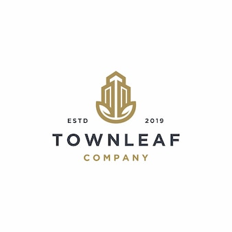 Real estate property with leaf logo template