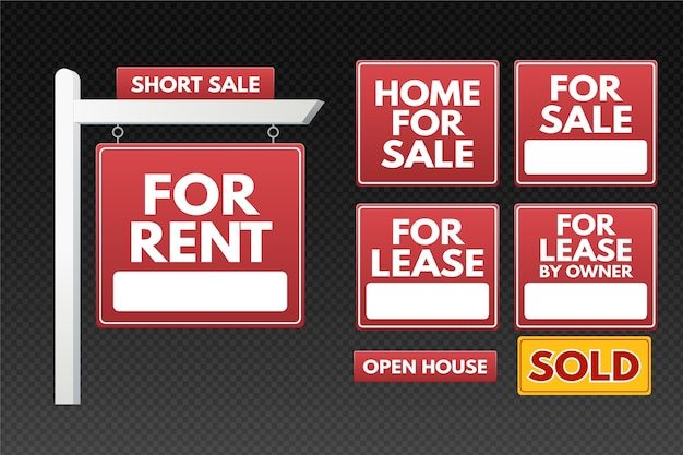 Real estate sale signs collection