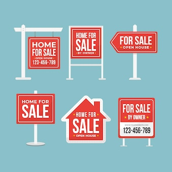 Real estate sale signs set