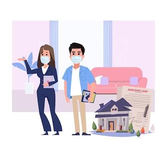 Продавец недвижимости с маской. защита от вирусов
