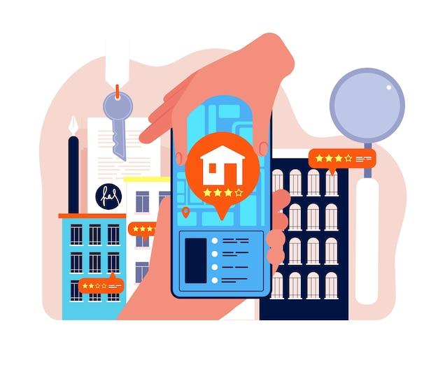 부동산 검색. 아파트 임대 또는 판매 회사 네트워크 구매 주택 개념. 일러스트 임대 주택 및 아파트, 검색 건물 주택