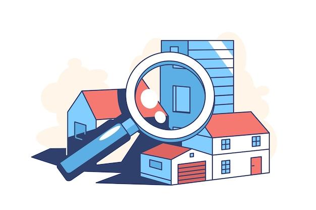 Иллюстрация поиска недвижимости в плоском стиле
