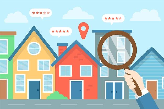 Иллюстрированная концепция поиска недвижимости