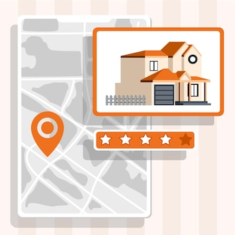 Real estate searching concept with map