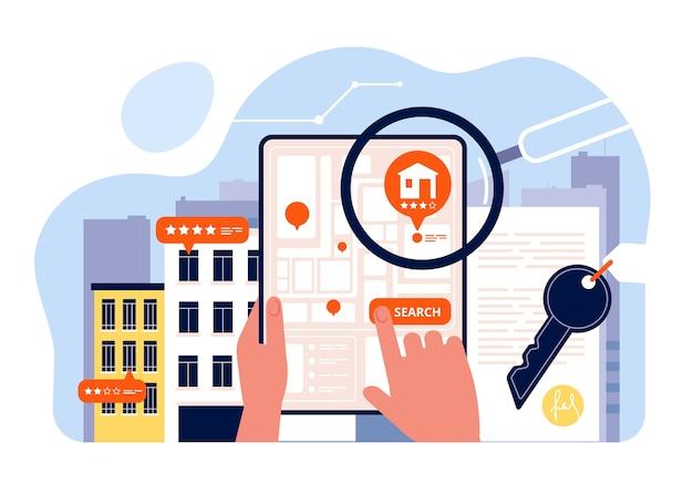 Поиск недвижимости. аренда домов просмотр на экране мобильного устройства приложение поиск концепции дома изометрии. продажа дома поиск, иллюстрация недвижимости