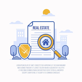Real estate searching illustration with magnifier