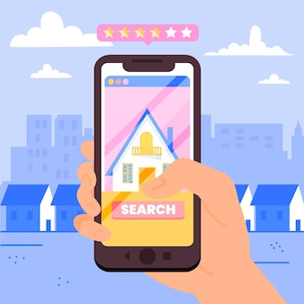 Real estate searching illustration with phone